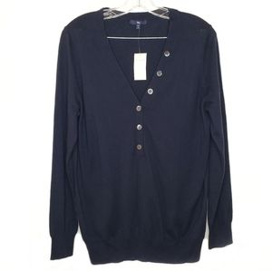 GAP Navy V-Neck Button Front Pullover Sweater